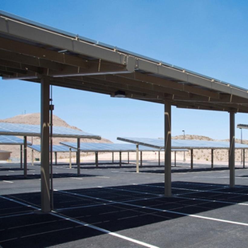 Solar panel parking lot