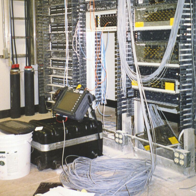 electrical engineering equipment with wires and computers